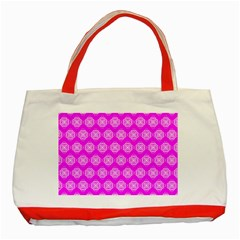 Abstract Knot Geometric Tile Pattern Classic Tote Bag (red)  by creativemom