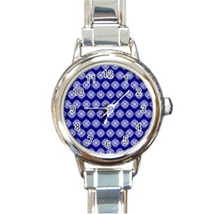 Abstract Knot Geometric Tile Pattern Round Italian Charm Watches