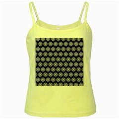 Abstract Knot Geometric Tile Pattern Yellow Spaghetti Tanks