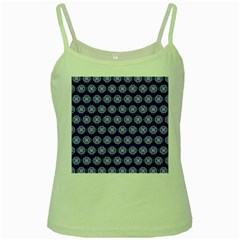 Abstract Knot Geometric Tile Pattern Green Spaghetti Tanks