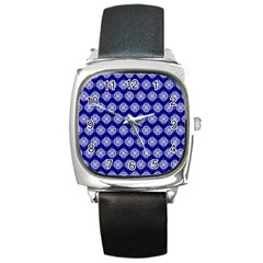Abstract Knot Geometric Tile Pattern Square Metal Watches