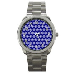 Abstract Knot Geometric Tile Pattern Sport Metal Watches