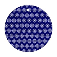 Abstract Knot Geometric Tile Pattern Round Ornament (Two Sides)
