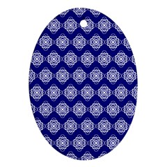 Abstract Knot Geometric Tile Pattern Oval Ornament (Two Sides)