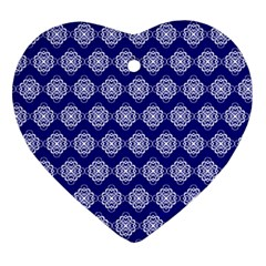 Abstract Knot Geometric Tile Pattern Heart Ornament (2 Sides)