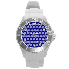 Abstract Knot Geometric Tile Pattern Round Plastic Sport Watch (L)