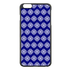 Abstract Knot Geometric Tile Pattern Apple iPhone 6 Plus Black Enamel Case