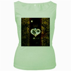 Steampunk, Awesome Heart With Clocks And Gears Women s Green Tank Tops by FantasyWorld7