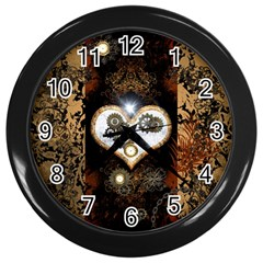 Steampunk, Awesome Heart With Clocks And Gears Wall Clocks (black) by FantasyWorld7