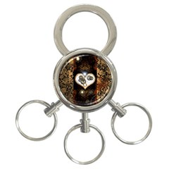 Steampunk, Awesome Heart With Clocks And Gears 3 Ring Key Chains by FantasyWorld7