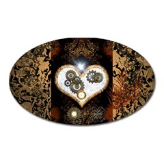 Steampunk, Awesome Heart With Clocks And Gears Oval Magnet by FantasyWorld7