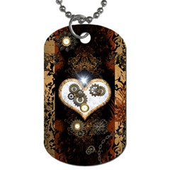 Steampunk, Awesome Heart With Clocks And Gears Dog Tag (one Side) by FantasyWorld7