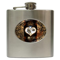 Steampunk, Awesome Heart With Clocks And Gears Hip Flask (6 Oz) by FantasyWorld7