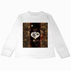 Steampunk, Awesome Heart With Clocks And Gears Kids Long Sleeve T Shirts by FantasyWorld7