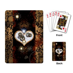 Steampunk, Awesome Heart With Clocks And Gears Playing Card by FantasyWorld7