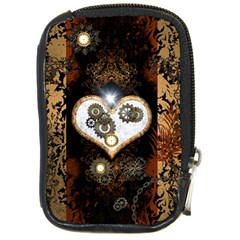 Steampunk, Awesome Heart With Clocks And Gears Compact Camera Cases by FantasyWorld7