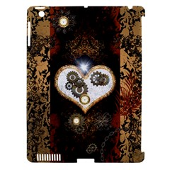 Steampunk, Awesome Heart With Clocks And Gears Apple Ipad 3/4 Hardshell Case (compatible With Smart Cover) by FantasyWorld7