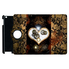 Steampunk, Awesome Heart With Clocks And Gears Apple Ipad 3/4 Flip 360 Case by FantasyWorld7