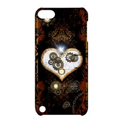 Steampunk, Awesome Heart With Clocks And Gears Apple Ipod Touch 5 Hardshell Case With Stand by FantasyWorld7