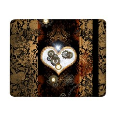 Steampunk, Awesome Heart With Clocks And Gears Samsung Galaxy Tab Pro 8 4  Flip Case by FantasyWorld7