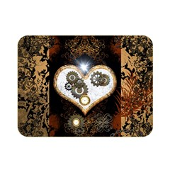 Steampunk, Awesome Heart With Clocks And Gears Double Sided Flano Blanket (mini)