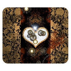 Steampunk, Awesome Heart With Clocks And Gears Double Sided Flano Blanket (small)