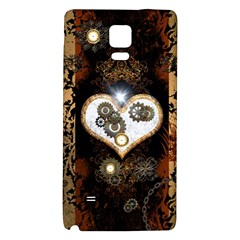 Steampunk, Awesome Heart With Clocks And Gears Galaxy Note 4 Back Case by FantasyWorld7