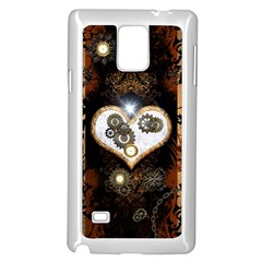 Steampunk, Awesome Heart With Clocks And Gears Samsung Galaxy Note 4 Case (white) by FantasyWorld7