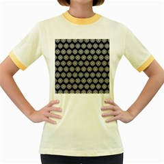 Abstract Knot Geometric Tile Pattern Women s Fitted Ringer T Shirts