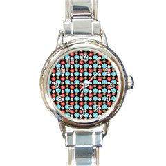 Colorful Floral Pattern Round Italian Charm Watches by creativemom