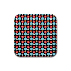 Colorful Floral Pattern Rubber Square Coaster (4 Pack)  by creativemom