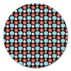 Colorful Floral Pattern Magnet 5  (round) by creativemom