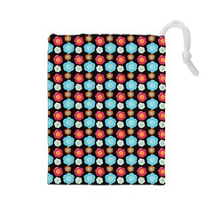 Colorful Floral Pattern Drawstring Pouches (large)  by creativemom