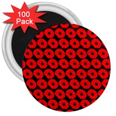 Charcoal And Red Peony Flower Pattern 3  Magnets (100 Pack) by creativemom