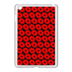 Charcoal And Red Peony Flower Pattern Apple Ipad Mini Case (white) by creativemom