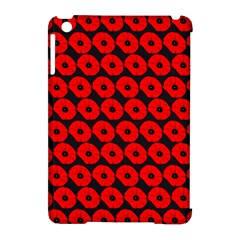 Charcoal And Red Peony Flower Pattern Apple Ipad Mini Hardshell Case (compatible With Smart Cover) by creativemom