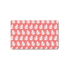 Coral And White Lady Bug Pattern Magnet (name Card)
