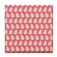Coral And White Lady Bug Pattern Face Towel by creativemom