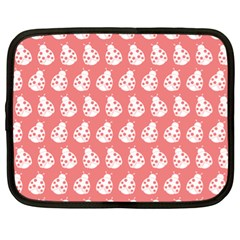 Coral And White Lady Bug Pattern Netbook Case (xl)  by creativemom