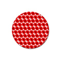 Red Peony Flower Pattern Magnet 3  (round) by creativemom