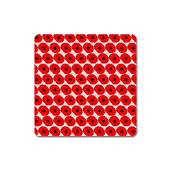Red Peony Flower Pattern Square Magnet