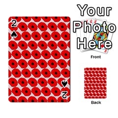 Red Peony Flower Pattern Playing Cards 54 Designs  by creativemom