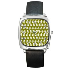 Ladybug Vector Geometric Tile Pattern Square Metal Watches