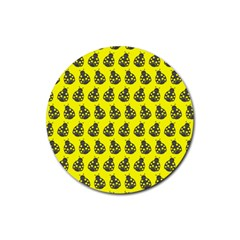 Ladybug Vector Geometric Tile Pattern Rubber Round Coaster (4 Pack)