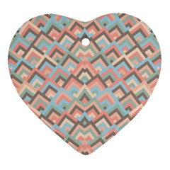 Trendy Chic Modern Chevron Pattern Heart Ornament (2 Sides) by creativemom