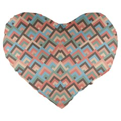 Trendy Chic Modern Chevron Pattern Large 19  Premium Flano Heart Shape Cushions by creativemom