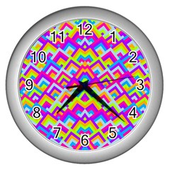 Colorful Trendy Chic Modern Chevron Pattern Wall Clocks (silver)  by creativemom