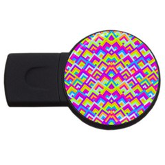 Colorful Trendy Chic Modern Chevron Pattern Usb Flash Drive Round (4 Gb)  by creativemom