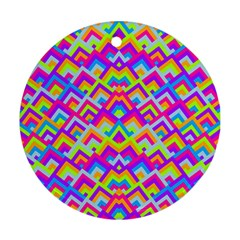 Colorful Trendy Chic Modern Chevron Pattern Round Ornament (two Sides)  by creativemom