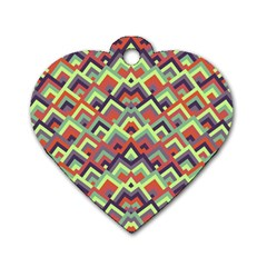 Trendy Chic Modern Chevron Pattern Dog Tag Heart (one Side)